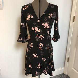 Candies black flowered faux wrap dress